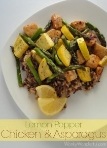 Lemon Pepper Chicken and Asparagus over Wild Rice ::: wonkywonderful.com #shop