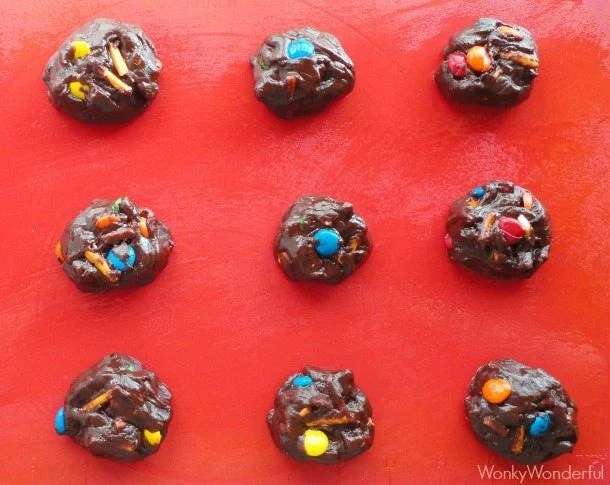 Dark Chocolate Cookies with M&M's and Pretzels - wonkywonderful.com #shop #BakingIdeas