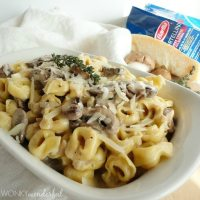 Mushroom Cream Sauce with Tortellini