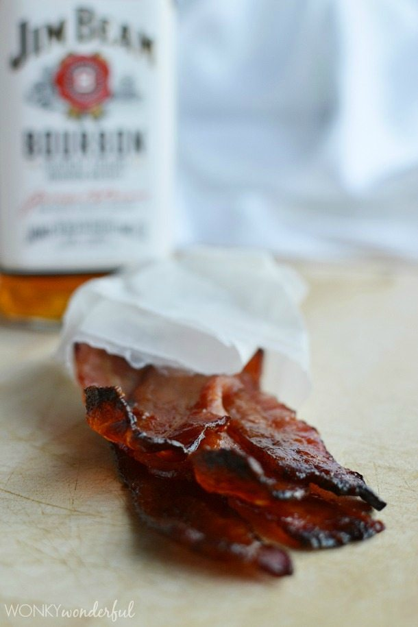 Maple and Bourbon Glazed Bacon Recipe - oven baked bacon - wonkywonderful.com