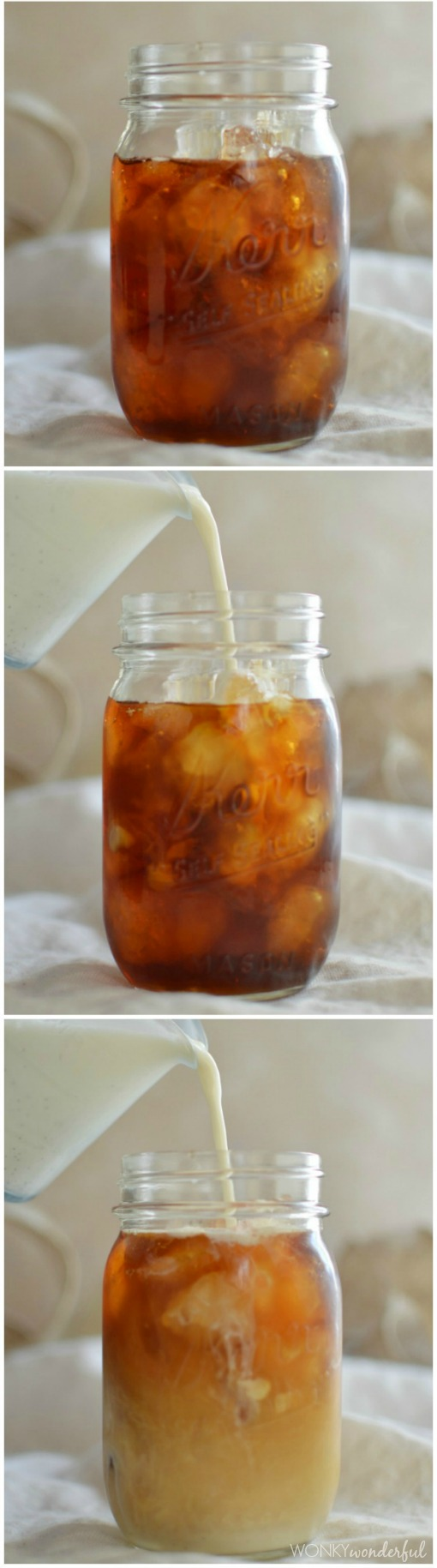 three photos showing plain iced coffee in clear jar, creamer being poured in and then a creamy iced coffee