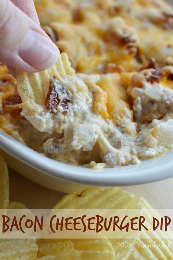hand dipping chip into creamy cheesy dip - photo text: bacon cheeseburger dip