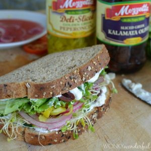 Vegetable Greek Sandwich with Creamy Feta Spread : healthy vegetarian lunch