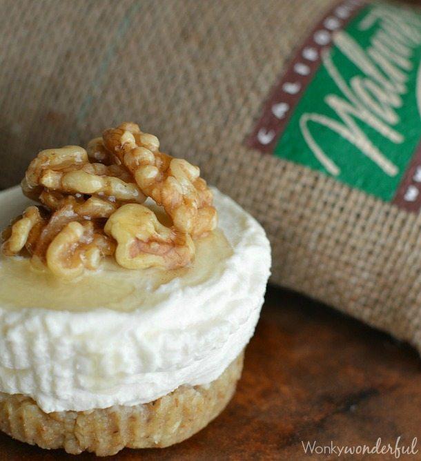 Gluten Free Cheesecake with Ricotta Honey and Walnuts : Mini Ricotta Cheesecakes with Walnut Crust : No refined sugar Dessert Recipe
