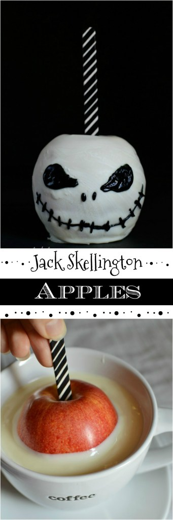 Jack Skellington Chocolate Covered Apples are an easy and impressive Halloween treat!  These are a great alternative to a plain candy apples recipe.  Especially if any of your friends or family are The Nightmare Before Christmas fans!