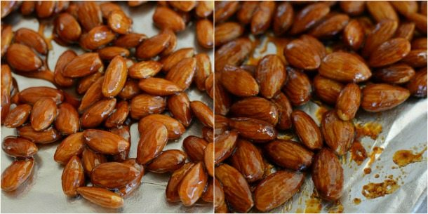 photos of almonds on foil lines baking sheet