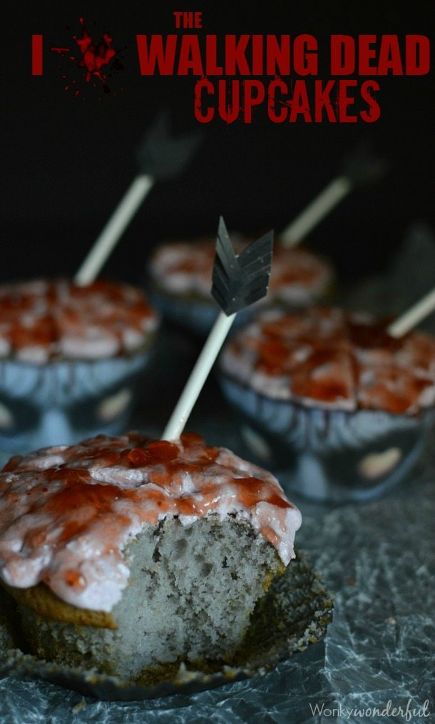 Bloody Zombie Brain Cupcakes - The perfect dessert recipe for Halloween or your The Walking Dead party!