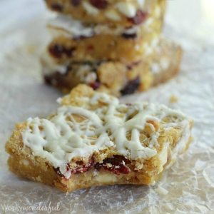 White Chocolate Cranberry Cookie Bars - This easy dessert recipe is full of sweet white chocolate and tart cranberries. Perfect for the holidays!