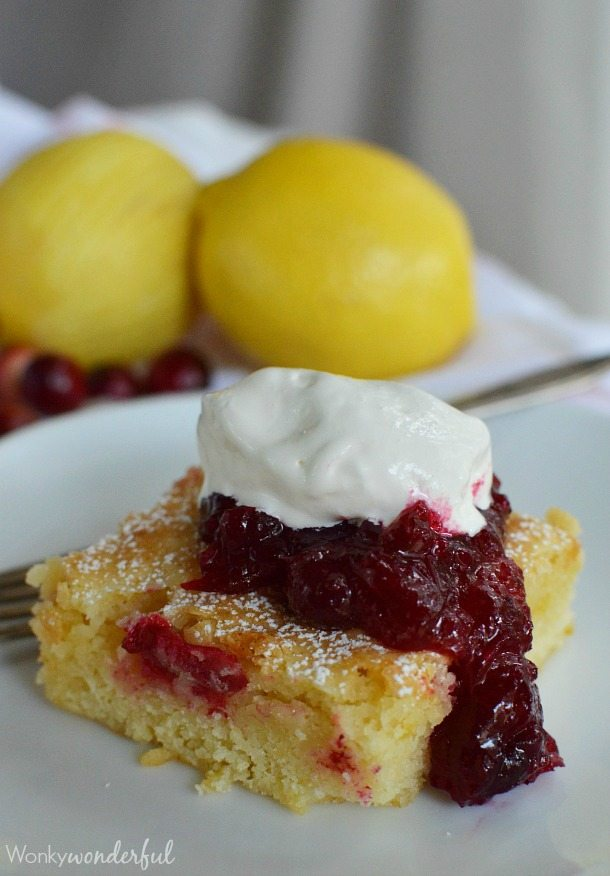Cranberry Lemon Bars - This holiday dessert recipe has the consistency of brownies and the flavor of lemon and cranberries! Perfect for Thanksgiving.