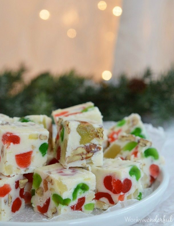 Easy Fruitcake White Chocolate Fudge Recipe made with candied fruit and pecans. Also known as Jeweled Fudge. Great Christmas Dessert!