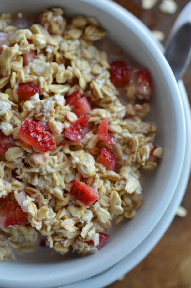 oatmeal with chunks of strawberries
