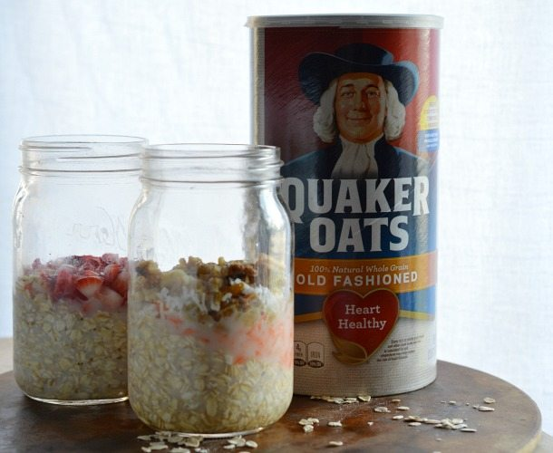 oatmeal in two clear jars next to container of oats