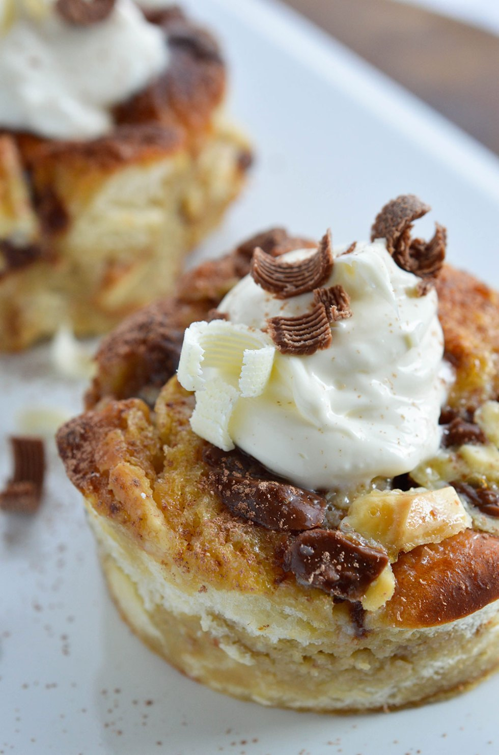Tiramisu White Chocolate Bread Pudding - This individual dessert recipe is flavored with coffee, milk chocolate, white chocolate and mascapone.