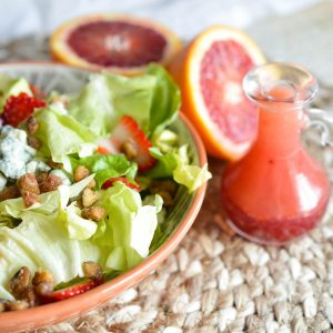 Blood Orange Salad Dressing Recipe - This fresh citrus vinaigrette will brighten up any salad! Serve with tender lettuce, blue cheese, strawberries and nuts for the perfect healthy meal!