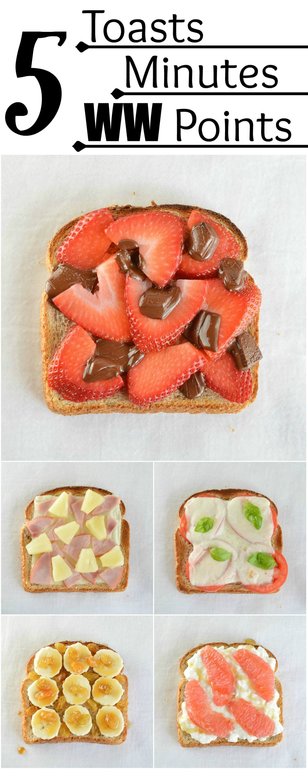 5 Minute Healthy Snack Ideas: 5 Toast Snacks, 5 Minutes Each, 5 Weight Watchers Points Each. Great for a satisfying breakfast, lunch or snack! #WeightWatchers