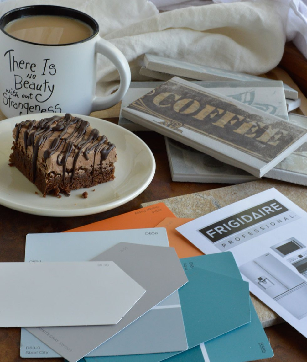 Planning my dream kitchen while enjoying coffee and mocha brownies.