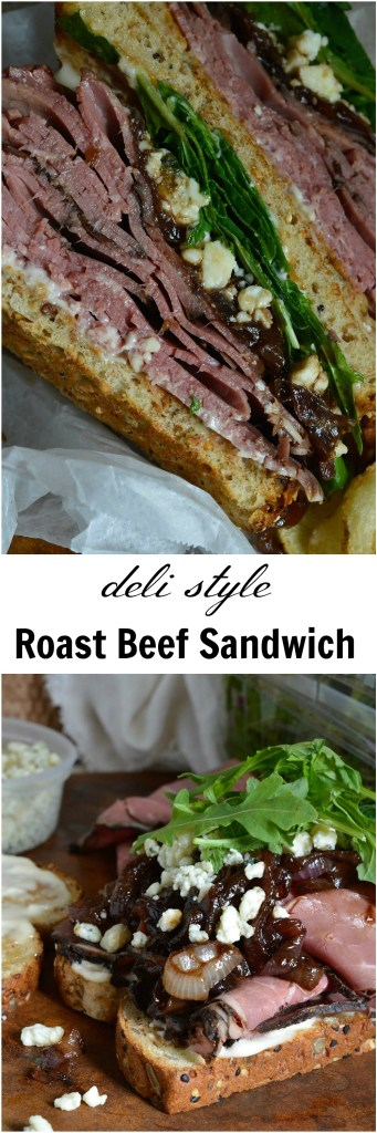 This Deli Style Roast Beef Sandwich is the best kind of lunch! Easy, delicious and flavorful. Deli roast beef, gorgonzola cheese, fresh greens and balsamic caramelized onions make this an amazing sandwich recipe!