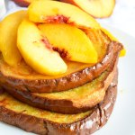 Dairy Free Oven Baked French Toast with Fresh Peaches and Cream! This easy breakfast recipe is full of flavor!