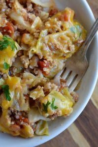 Easy Stuffed Cabbage Casserole is a one pot dinner recipe that is ready in 30 minutes or less! Perfect for a quick weeknight meal.