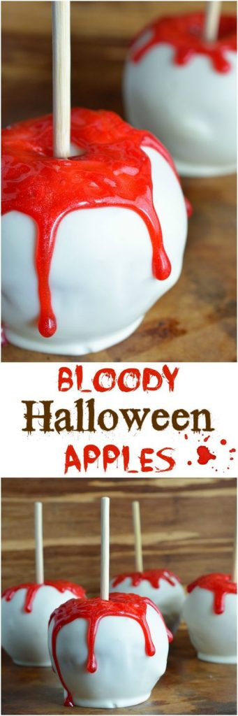 Bloody White Chocolate Apples are quick, easy and SPOOKY! This fun Halloween recipe will be a hit with kids and adults! Your Halloween Party guests will be screaming for more!