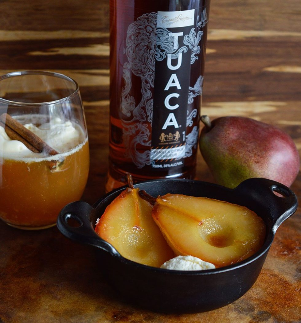 Tuaca and Cider Roasted Pears are a fantastic Fall dessert! This easy recipe is impressive and full of flavor!