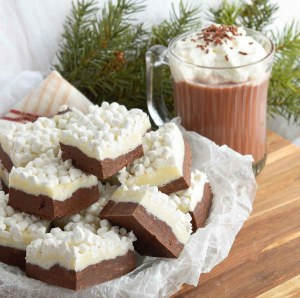 This Hot Chocolate Fudge Recipe bring two of your favorite winter desserts together. Hot cocoa and rich fudge topped with marshmallows! The perfect holiday treat.