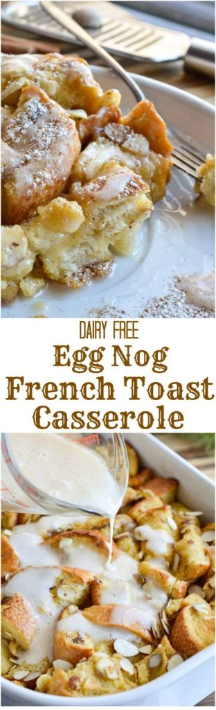 This Dairy Free Almond & Egg Nog French Toast Casserole with egg nog glaze is perfect for feeding a crowd this holiday season!