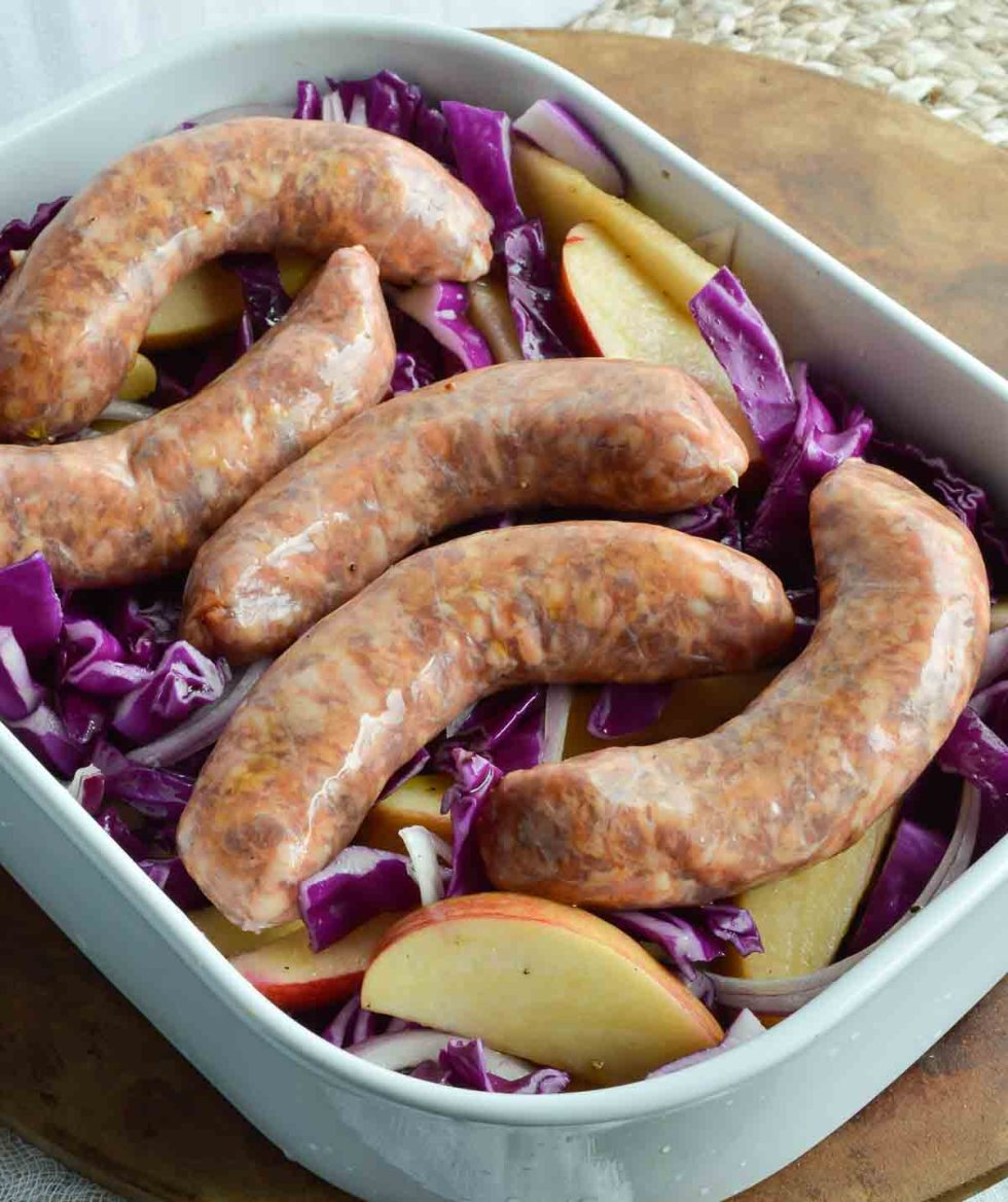 This Baked Sausage with Apples and Cabbage is a nutritious, hearty and delicious dinner recipe. This one pot meal is beyond easy to make!