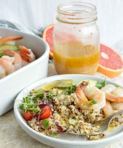 Shrimp Avocado Salad with Quinoa and Grapefruit Dressing is a bright, flavorful and healthy meal! A simple salad made with boiled shrimp, avocados, tomatoes, quinoa, micro greens and homemade grapefruit vinaigrette.