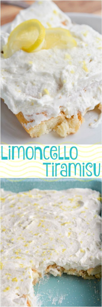 Limoncello Tiramisu is a simple yet sophisticated adult dessert recipe. Think of it as a Boozy Lemon Icebox Cake. Lady finger cookies soaked in limoncello sandwiched between layers of mascarpone whipped cream!