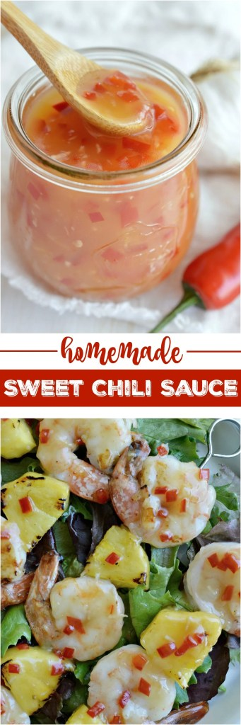 Inspired by sauce from my favorite Chinese food restaurant this Sweet Chili Sauce Recipe tastes great on just about anything! Slather it on any type of meat, use it in stir fry or as an egg roll dip. I took my sauce out to the barbecue and made Grilled Shrimp and Pineapple Skewers!