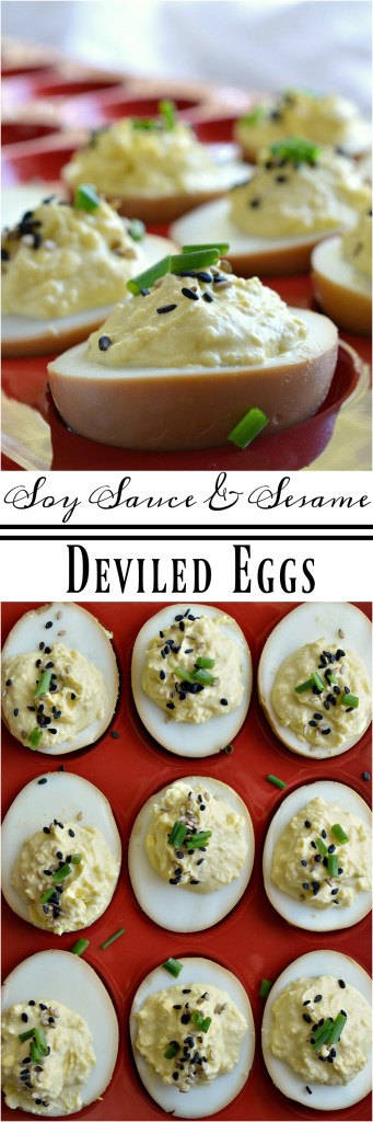 This deviled egg recipe is for the adventurous eater. Deviled Soy Sauce Eggs are first cooked in a soy sauce mixture then prepared into deviled eggs. Top with sesame seeds and chives. These eggs are full of Asian flair and unique flavor!