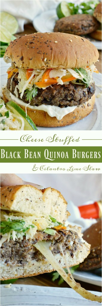 This Cheese Stuffed Quinoa Black Bean Burger with Cilantro Lime Slaw is so tasty you will not even miss the meat! Veggie burgers can be easy and delicious with this recipe. And the cilantro lime coleslaw is amazing! This is one vegetarian meal that everyone can enjoy. Eat burgers on Meatless Monday!