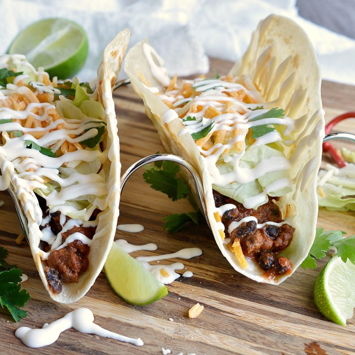 Forget about Taco Tuesday, go for tacos everyday! These Chipotle Black Bean Tacos give regular tacos a new twist. Beef and black beans seasoned with chipotle make the ultimate taco recipe! Mexican Dinner in less than 30 minutes!