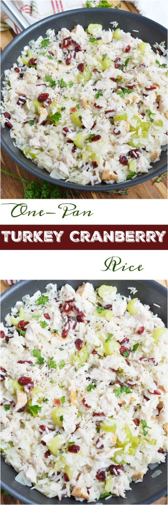 This Turkey Cranberry Rice is great for using up that leftover Thanksgiving turkey. All of the holiday flavors come together in this easy one-pan dinner recipe!