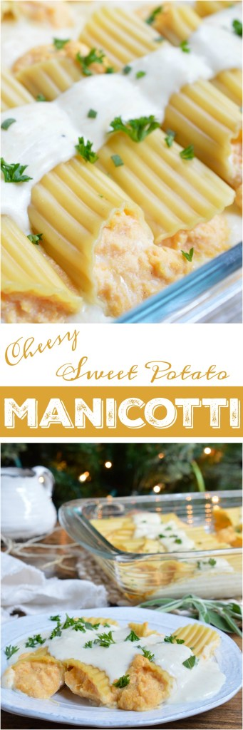 This Sweet Potato Cheese Manicotti Recipe is a new twist on family holiday dinner. Manicotti pasta is stuffed with a ricotta sweet potato mixture and slathered with cheesy sage alfredo sauce! This makes a great meatless holiday meal, side dish or the perfect way to use up those leftovers!