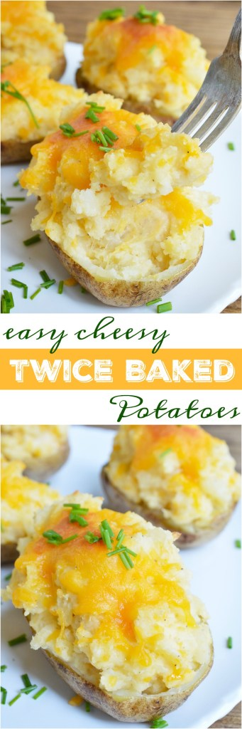 These Easy Cheesy Twice Baked Potatoes make the perfect holiday side dish! Learn a little trick that takes this stuffed potato recipe to the next level. This method makes the potato skins super delicious!