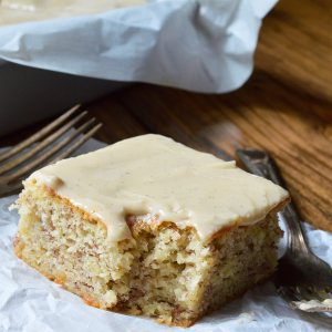 Buttermilk Banana Cake Recipe with Vanilla Buttermilk Glaze