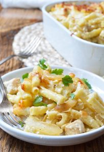 Are you looking for a nutritious dinner recipe the entire family will enjoy? This French Onion Chicken Casserole is a nice change from the usual baked casserole meals. Ziti pasta is slathered with a creamy cheese sauce then filled with chicken and caramelized onions.