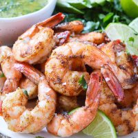 Spicy Baked Shrimp with Cilantro Lime Dip