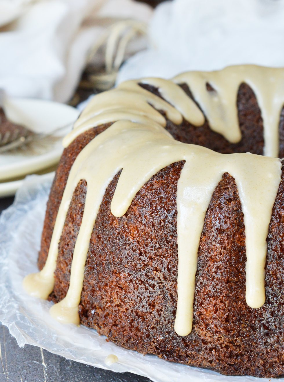 Need a dessert recipe that is easy, delicious and impressive? This Brown Butter Glazed Bundt Cake Recipe is all of those! This moist buttermilk cake is flavored with apple butter then topped with brown butter glaze. A guaranteed crowd pleaser!