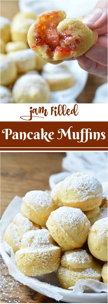 Want pancakes for breakfast without all the flipping? This Baked Dairy Free Pancake Muffins Recipe is super easy to make and great for feeding a hungry crowd! Not only are these pancake bites light and fluffy, they are also filled with strawberry jam!