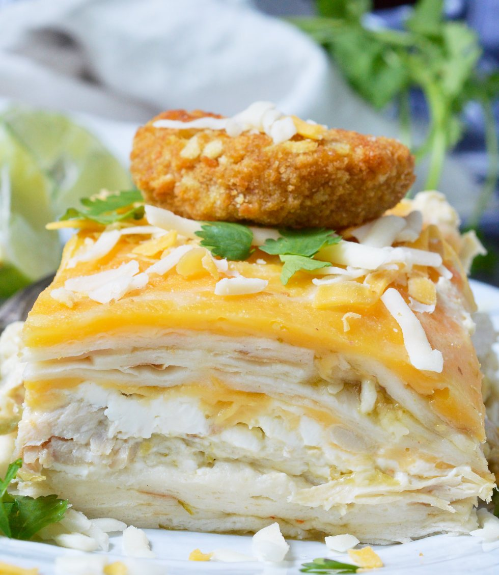 For a quick, easy and delicious dinner recipe this Green Chicken Enchilada Casserole is perfect! This Mexican meal is made with just 5 ingredients and the rotisserie chicken saves a ton of time. This is sure to be a new family favorite weeknight dinner!