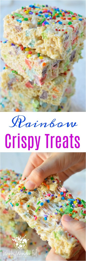 TheseMagical Rainbow Rice Crispy Treats are perfect for a surprise treat or a colorful unicorn party! This easy dessert recipe makes super chewy krispy treats full of magical charm marshmallows. Top them with rainbow sprinkles for the ultimate kid approved treat!