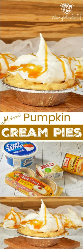 Don't slave away in the kitchen making holiday desserts! TheseNo Bake Mini Pumpkin Cream Pies drizzled with caramel are quick, easy and sure to be a hit! This pudding pie recipe is also great for portion control thanks to the individual servings. #pie #dessert #thanksgiving