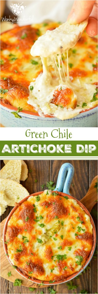 Looking for a cheesy appetizer to feed your hungry crowd? This Hot Green Chile Artichoke Dip Recipe takes a family favorite to the next level with a punch of green chile flavor! This recipe is quick, easy and perfect for game day or holiday feasts. #appetizer #wonkywonderful