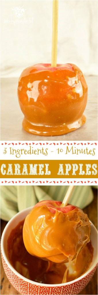Make this favorite Fall dessert with just 3 ingredients in less than 15 minutes! This Easy Pumpkin Spiced Caramel Apples Recipe is great for Harvest festivals, holiday celebrations or as a Halloween treat. The kids can even help make this fun dessert! #halloween #pumpkinspice @wonkywonderful