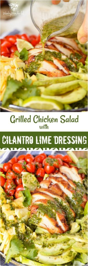 For a quick, fresh, easy and nutritious meal look no further than thisGrilled Chicken Salad with Cilantro Lime Dressing. Romaine lettuce topped with tomatoes, avocado, cheese, grilled chicken and cilantro lime vinaigrette... this is an easy dinner recipe that you can feel good about! ad #healthyrecipe #wonkywonderful