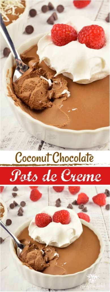 ThisCoconut Chocolate Pots de Creme Recipe is an elegant yet simple dessert. Perfect for the holidays, Valentine's Day or to satisfy an extreme chocolate craving! Made with just 5 ingredients, dairy-free and minimal effort, this creamy chocolate treat will be a show-stopper!
