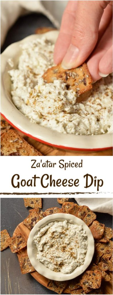 Looking for a unique appetizer to serve to guests? This Za'atar spiced Goat Cheese Dip Recipe is just 3 ingredients and crazy delicious! Great for holiday menus, game day snacks or potlucks. #appetizer #diprecipe #goatcheese
